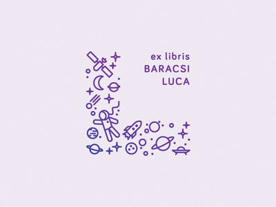 Luca's bookplate ufo planet stars icons iss l space ex libris spaceship bookplate moon