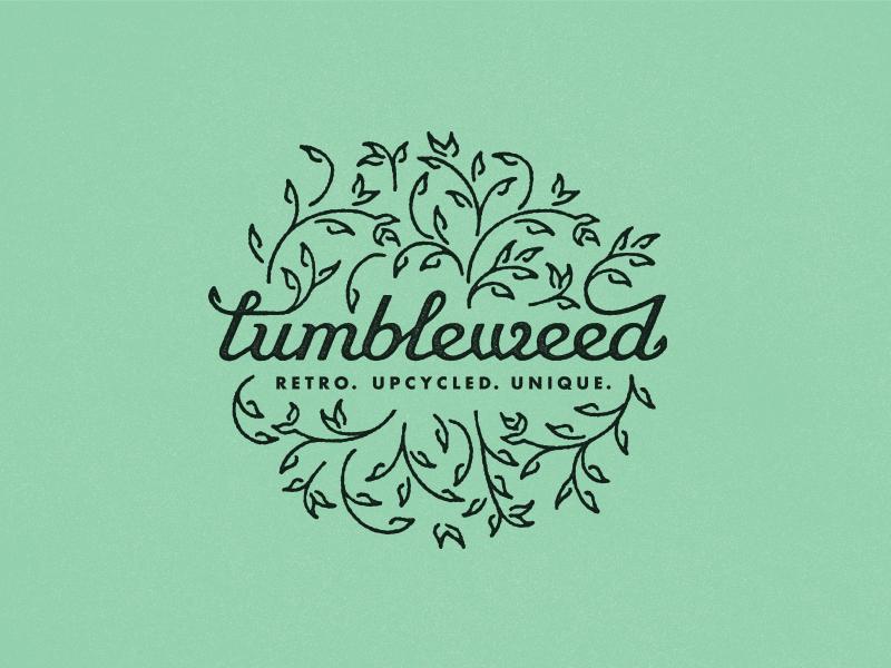 Tumbleweed logolounge logo fine retro upcycled badge script futura leaves tumbleweed