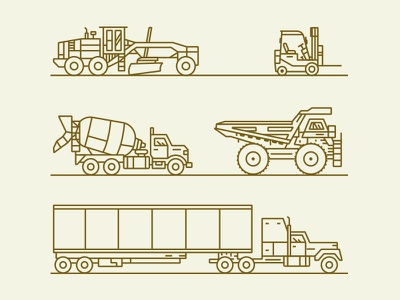 Vehicles cement truck semi dump truck forklift road grader truck monoline icon