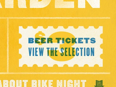 Bike Brandon website infographic bike brandon one page texture yellow blue ticket hot dog icon beer