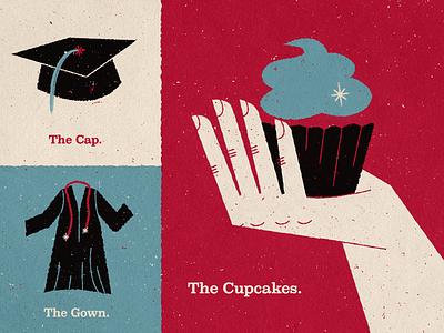 Graduation Cupcakes cap gown cupcakes mid-century texture