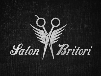 Salon Britori salon hair scissors wings script texture grunge logo type black  white