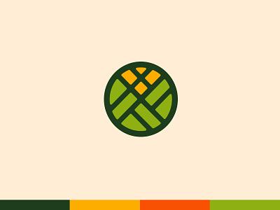 Logo Concept field corn flour logo crops food sun hills land