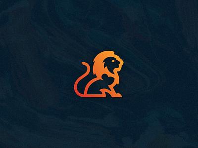 Fearless Foundation nonprofit hidden bold negative logo gradient mouse lion foundation fearless