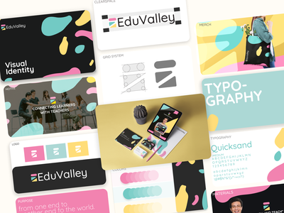 EduValley Brand Identity    E-Learning Platform vibrant fun identity typography color graphic design style guide product e-learning logo brand identity visual identity e learning brand guidelines brand book branding
