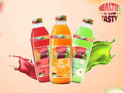 Bronzie Packaging Design package design custom type product calligraphy modern logodesign logo illustrated packaging illustration brand identity vibrant colorful visual identity branding drink beverage juice label design packaging design packaging