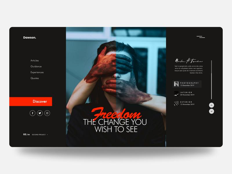 Dawson. minimal design user landing page web design dark theme homepage homepage design clean design interface minimal web ux ui