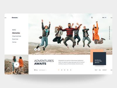 Dawson. | Adventures Awaits singlepage web app header design front end interface web page landing page web design homepage clean design clean visual minimal experience user design ux ui web