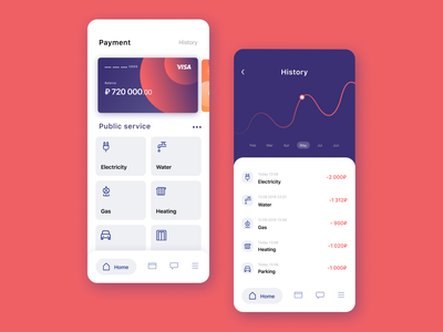 Mobile utility payment application ui design chart violet mobile mobile ui utilities app
