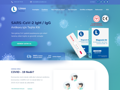 corona landing illustration blue doctor uıdesign rapid test ux uı landingpage corona
