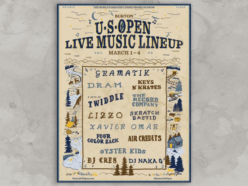 Burton USOpen Live Music Poster typography handdrawn screenprint gig poster