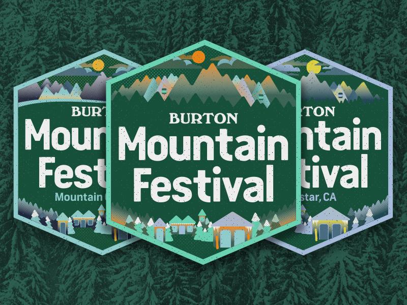 2017 Burton Mountain Festival Badges illustration mountains badge