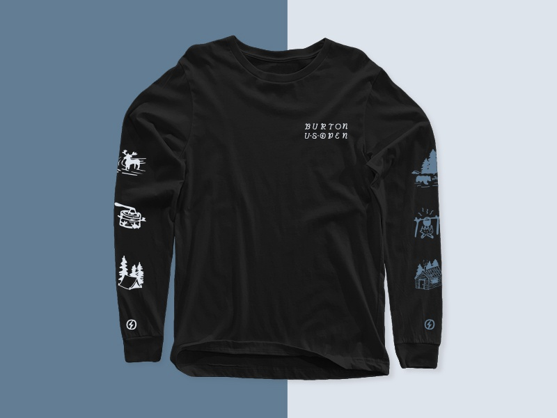 Burton US Open Mountain Long Sleeve lettering typography mountains illustration