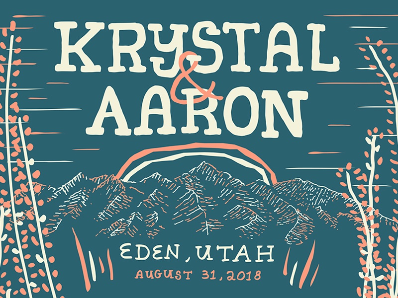 Krystal & Aaron typography illustration wedding invite