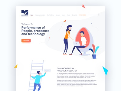 Momentum Interface onboarding illustrations design user experience prototyping animated illustration interaction design ui landingpage