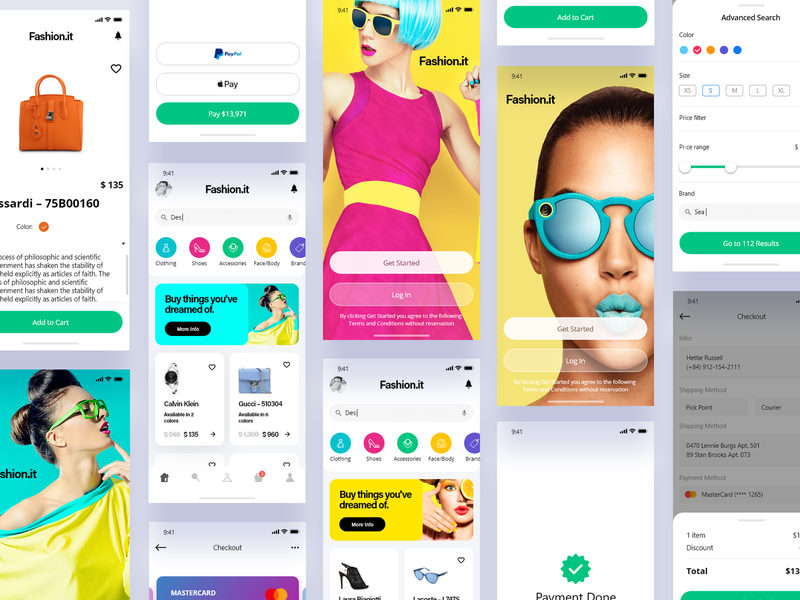 Fashion.it Mobile Version logo concept branding appdesign onboarding ux app designer user experience prototyping interaction design ui