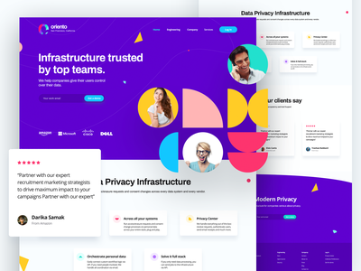 oriento - Trusted platform by top teams - Landing Page prototyping typography branding illustration interaction design ux design user experience ui landing page landingpage