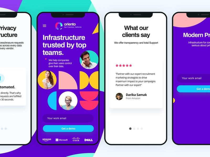 oriento - Trusted platform by top teams - Mobile version design illustration prototyping app designer illustrations ux user experience landingpage landing page interaction design ui