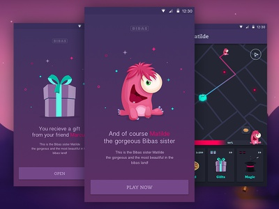 Matilde On Bibas Game user experience interaction design icon illustrations icons material design android animated prototyping ui ux app designer