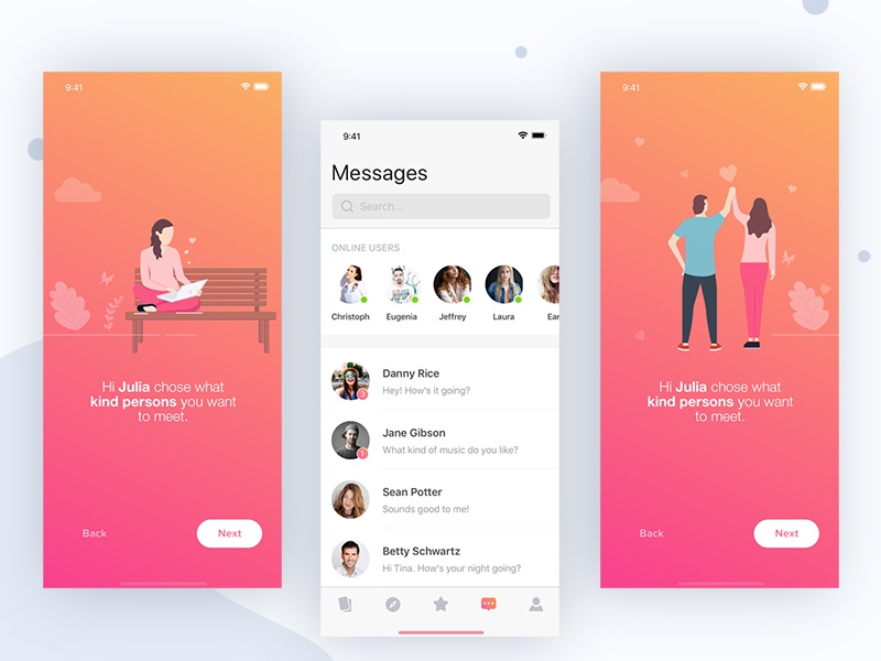 Firstdate app iphone dating user experience interaction design icon illustrations icons animated prototyping ui ux app designer
