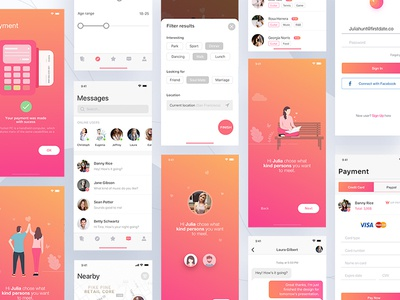 Firstdate app user experience interaction design icon illustrations icons material design ios animated prototyping ui ux app designer