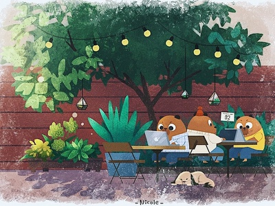 Bear Cafe dog sunnyday backyard coffee shop tree summer bear children art concept art character 2d art illustration