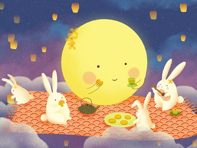 Mid Autumn Day illustration mid-autumn chinese food traditional festival rabbit mooncake moon autumn