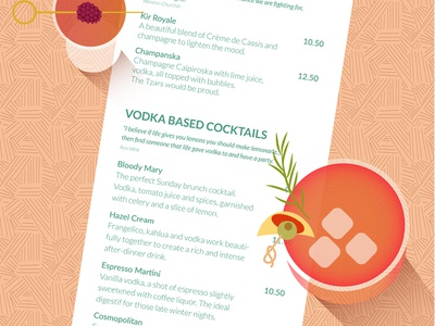 Cocktail & Menu website vectorart adobeillustator cocktail typogaphy menu illustration geometric