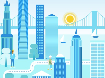 A Blue New York City_2 new york city app branding trip branding ui design vector illustration geometric