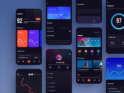 Sports fitness app dark mode uidesign design ui