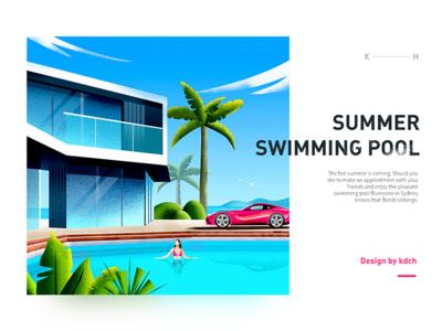 Summer pool illustrations