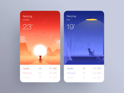 A group of weather illustrations
