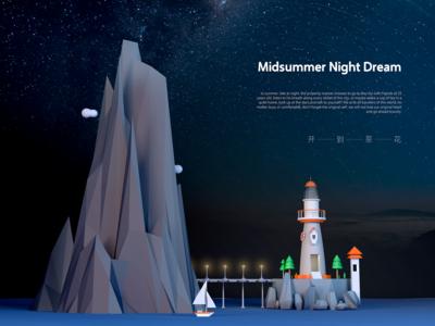Illustration of Night Lighthouse