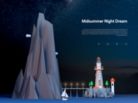 Illustration of Night Lighthouse