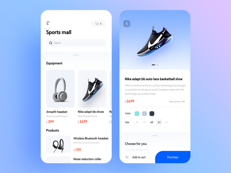 A shopping interface of Nick adapt shoes ux 插图 设计 ui