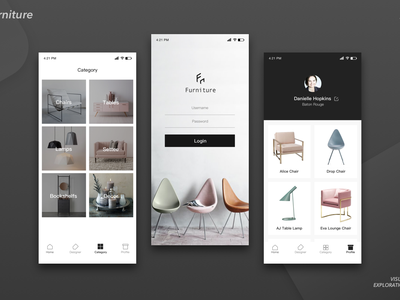 app with furniture desiner chairs table login
