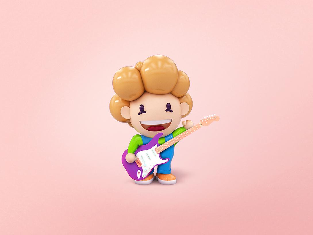 ArchiShow | Toys character illustrator icon type minimal identity packaging 3d toy typography rockstar pink rock logo penbrain design illustration branding animation