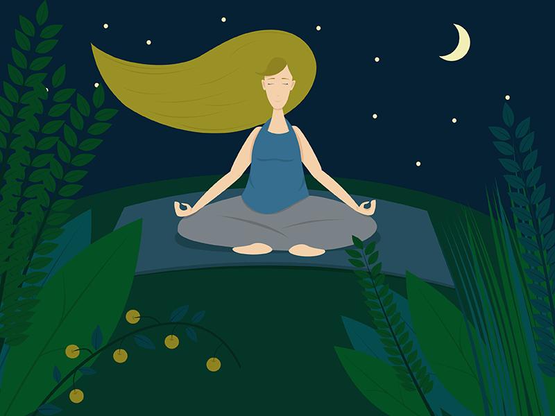 Yoga girl graphicdesign adobeillustrator adobeaftereffects adobe peace meditationspace meditation yoga nature girl graphic illustration