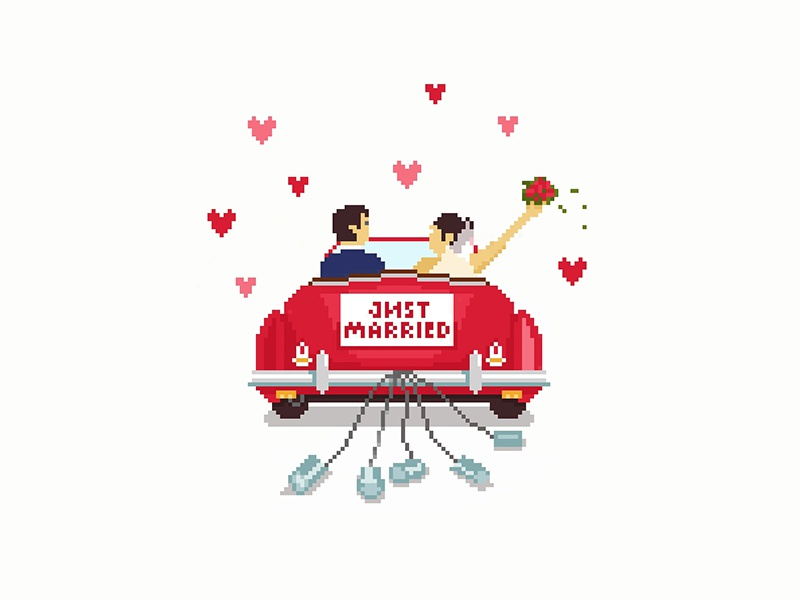 Just married couple lovers car married graphicdesign graphic design adobe 8bit-graphic 8bit illustration