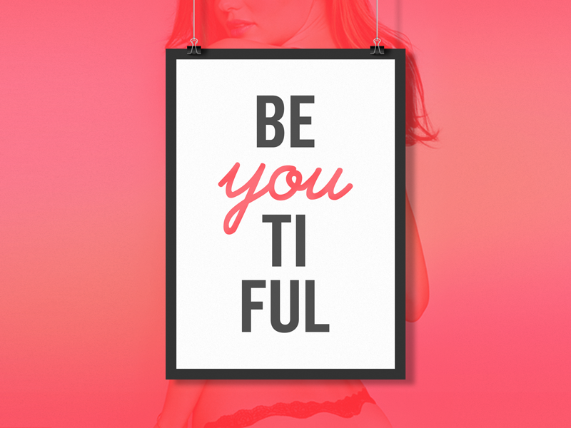 Beautiful typography poster pink beautiful