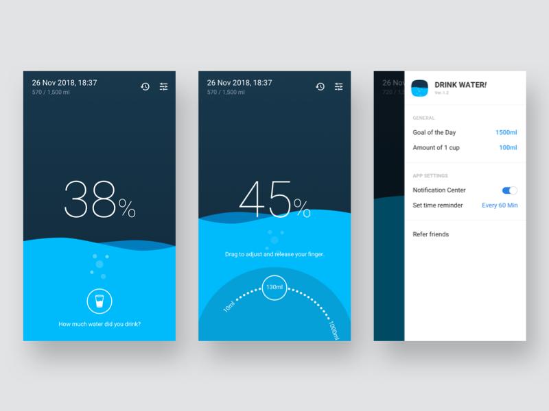 Water Tracker app ux ui tracker water water tracker app