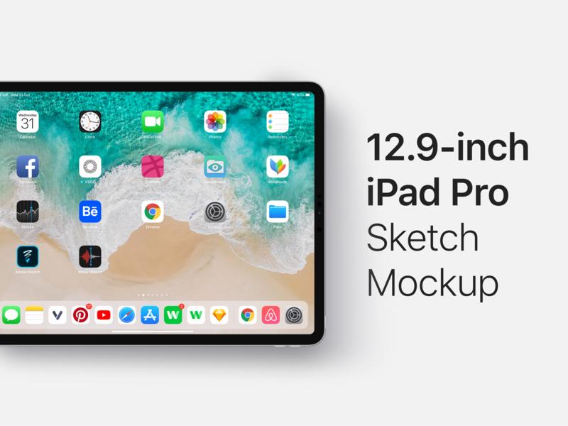 12.9-inch iPad Pro (2018) Sketch Mockup - Free Download ipad pro ipad mockup product mobile design app  interface ios design user interface app interface ui