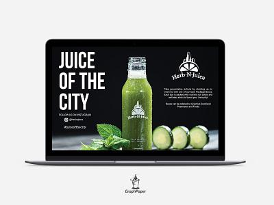 Web Banner for Herb N Juice ui design clean minimal design banner shop banner socialmedia ux ui web ui juice shop bar advertisement design website web banner