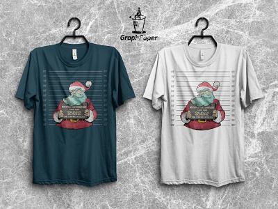 Arrested Santa T-Shirt Design - Christmas T-Shirt Bundle fanart youtube merch design merchandise christmas simple crime customizable tshirt design tshirtdesign tshirt art graphpaper artwork sketch jail santa claus illustration
