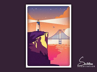 Retro Style - Lighthouse On Cliff retro rebound minimal light house landscape illustration design landscape illusion hillside cliff clean bridge
