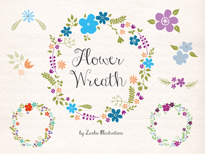 Flowers Wreath Vector collection