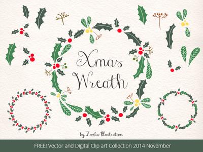 FREEBIE, Christmas Wreath, Holly Vector