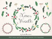 FREEBIE, Christmas Wreath, Holly Vector