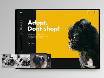 Pugs BlacknWhite black and yellow black  white adoption pug pugs dog layout screen design ux ui design