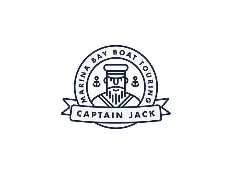 Captain Jack Logo emblem badge graphic monoline illustration branding logo design